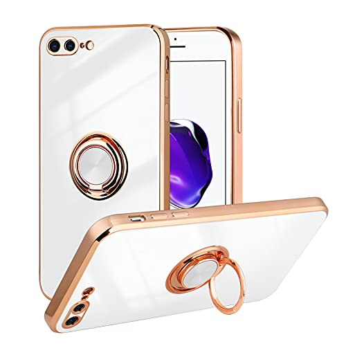 ITELINMON for iPhone 7 Plus Case/iPhone 8 Plus Case, Anti-Scratch Anti-Yellow Ultra-Clear Kickstand Magnetic Car Mount Cover for iPhone 7 Plus/iPhone 8 Plus 5.5 in - White