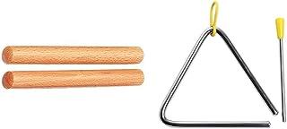 BSX 827300 Clave + CASCHA HH 2004 Triangulo con martillos con empuñadura de goma, para percusión y educación musical temprana