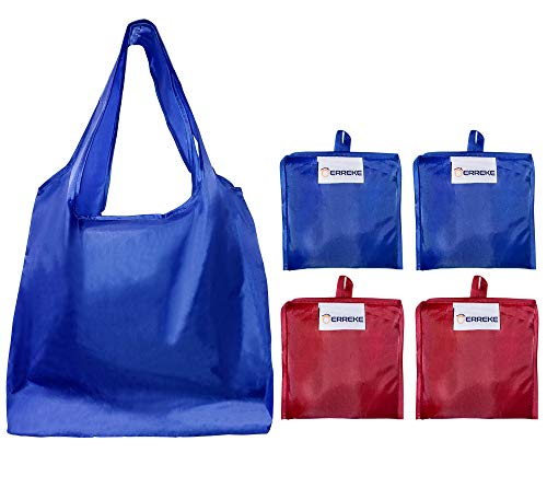 Erreke - Bolsas Reutilizables para la Compra. Plegables. Ecológicas. Polyester Muy Resistente. Alta Capacidad de Carga, Ligeras, higiénicas y Elegantes. Pack de 4 Bolsas. 35x58x8cm. (2X Azul 2X Rojo)