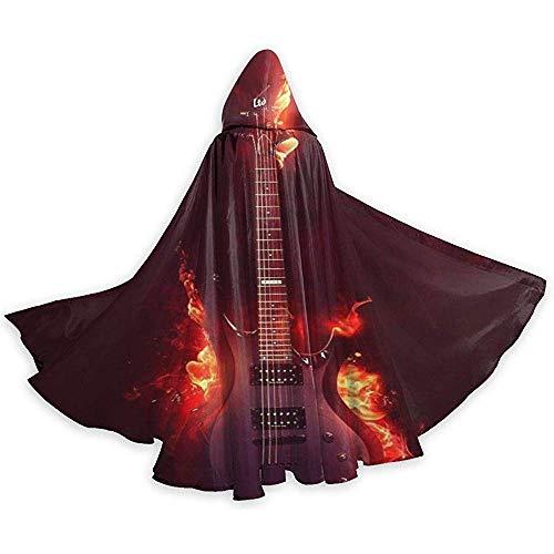 Rexing Brennende Gitarre Dark Fire Flame Aaron Leinwandumhang Mittelalterlicher Umhang Cosplay LARP Cotton Cloak