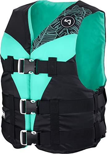 MESLE Schwimmweste V210-W, leichte Schwimm-Hilfe für Damen & Mädchen, XS-XL ab 30 kg, 50-N Auftriebsweste für SUP Wasserski Paddeln Wakeboard Kajak Schnorchel-Weste, Wasser-Sport, Größen:XS