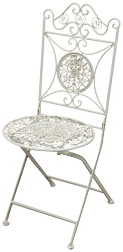 Biscottini Chaise Pliante Complet en Fer forgé Finition Blanc Antique diam.39x96 cm