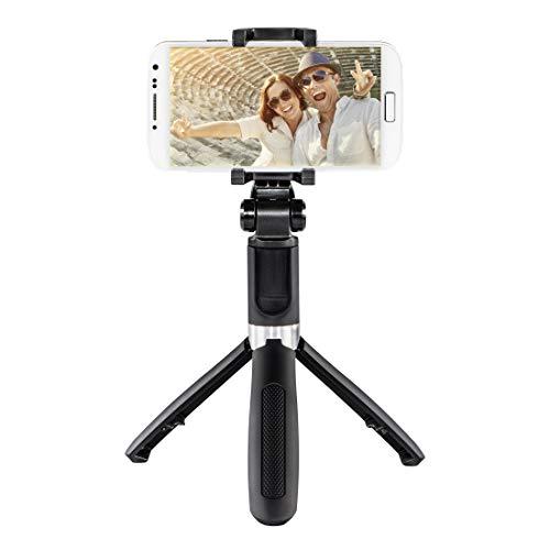 Hama Selfiestick mit Bluetooth Auslöser und Handy Halter (Selfie Stick mit erweiterbarer Teleskopstange bis 57 cm, kompakte Selfie Stange mit Stativ, auch als Tischstativ und Reisestativ) schwarz