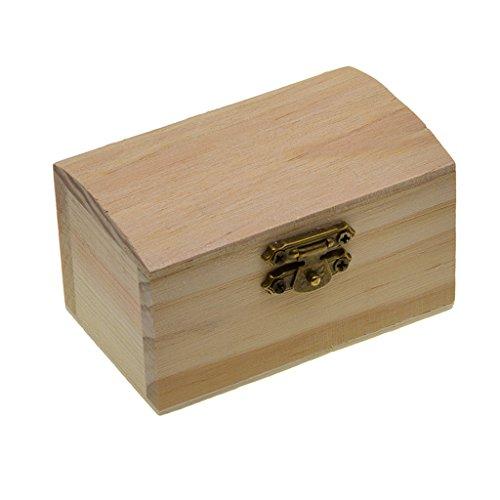 Bonarty Caja de Almacenamiento para El Hogar de Bricolaje Madera Natural con Tapa Cerradura de Bronce Postal Organizador para El Hogar Caja de Joyería