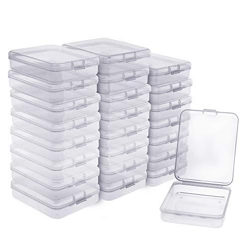 BELLE VOUS Kunststoff Aufbewahrungsbehälter (24 Packung) - (11x8.8 x2.8cm) Transparente Perlen Aufbewahrungsbehälter mit Klappdeckel für Perlen, Artikel, Pillen, Kleine Handwerk, Schmuckzubehö