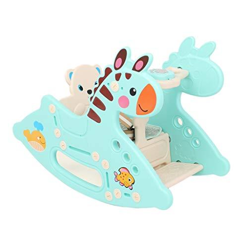 LITING Silla Mecedora de los niños Rocking Horse Rocking Silla Dual Uso de Juguete de plástico pequeño Caballo de Madera, Regalo Envejecido Regalo de Juguete para bebé (Color : Blue)