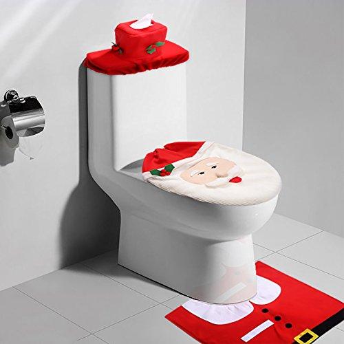 Kranich Weihnachten Badezimmer Toilettensitzbezug Badematten Set Toilettendeckelbezug WC Weihnachtsdeko