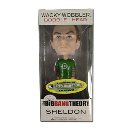 Funko Big Bang Theory Wacky Wobbler Wackelkopf Sheldon Green Lantern Shirt