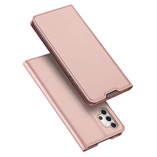 DUX DUCIS Hülle für Samsung Galaxy A32 5G, Leder Klappbar Handyhülle Schutzhülle Tasche Hülle mit [Kartenfach] [Standfunktion] [Magnetisch] für Samsung Galaxy A32 5G (Rose Golden)