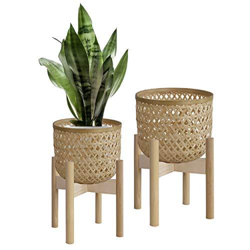 Made Terra Macetas de mimbre tejido natural con soporte, cubierta para maceteros con soporte de madera para decoración de interiores moderna del hogar, juego de 2 m, S (natural)