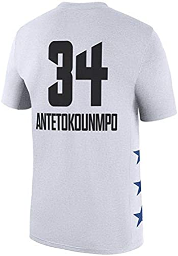 Combinaison De Basket T-Shirt NBA All-Star Milwaukee Bucks De Giannis Antetokounmpo T-Shirt à Imprimé De Lettres (S-3XL)