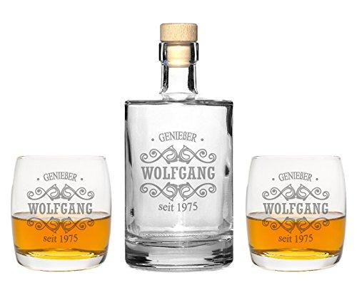 FORYOU24 2 Edle Whiskeygläser mit Whiskeykaraffe und Gravur Tribal II Whisky-Set graviert