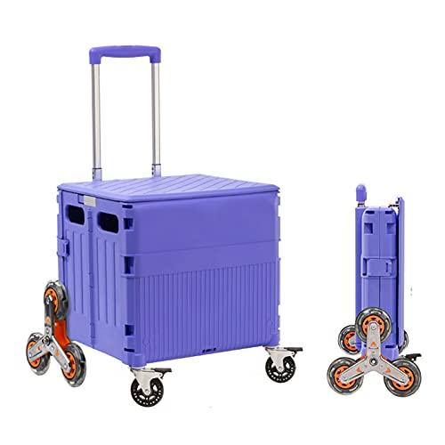 Carretilla con Caja Plegable Carro de Compras con Ruedas universales, cajón de Escalada en Escalera portátil, con Varilla Ajustable (Color : with Brakes)