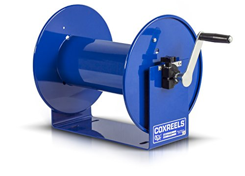 """Coxreels 112-4-75 Compact Manual Crank Steel Hose Reel - 4,000 PSI - Holds ½"""" x 75' Length Hose - Perfect for Air Compressor, Garden, Pressure Washer, Electric Hoses (Hose Not Included) Made in USA"""