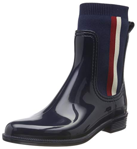 Tommy Hilfiger Damen Knitted RAIN Boot Stiefeletten, Blau (Tommy Navy 406), 41 EU