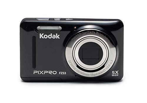 KODAK - PIXPRO FZ53, Fotocamera digitale nera - 16MPX - LCD 2,7  6,82 cm - Zoom 5X Opt - Angolo 28 mm - Video HD 720P - USB 2.0 - Stabilizzatore di immagine