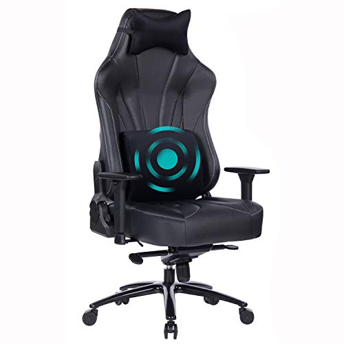 Blue Whale Super Big and Tall Gaming Chair with Massage Lumbar Support,Sedentary Reminder,Metal Base and Aluminum Alloy Armrest High Back PC Racing Office Computer Desk Ergonomic Swivel Task Chair (Black)