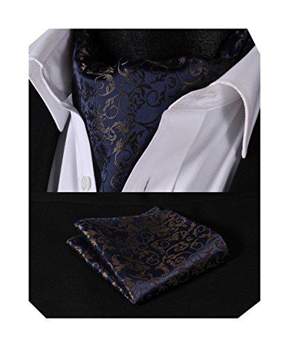 BIYINI Krawattenschal und Taschentuch Halstücher für Herren Paisley Seidenschal Einstecktuch Ascot Tie Set (A - Marine-Blau / Braun, One Size)