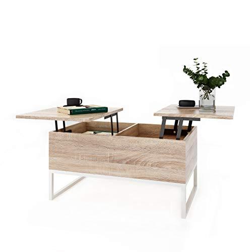 Table Basse Relevable avec 2 Compartiments Table D'appoint Relevable avec Espace de Rangement et étagère Table Basse Design Fonctionnel Réglable en Hauteur Table Basse de Salon