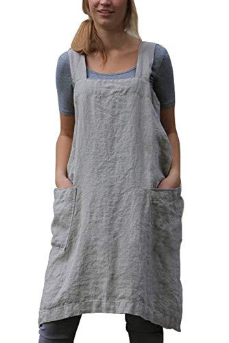 MAGIMODAC Damen Latzkleid Trägerkleid Leinenkleid Schürze Latzschürze Kochschürze Küchenschürze Leinen Kleid 34 36 38 40 42 44 46 48 (Grau, Etikett M/EU 36)