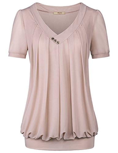 Miusey Work Blouses for Women, Ladies V Neck Short Sleeve Shirt Pleated Drape Front Loose Fit Knitted Tunic Tops Beige M