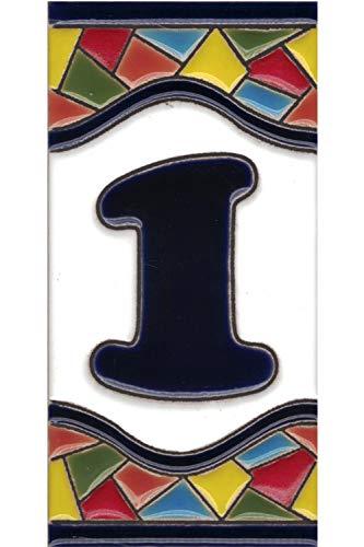 Números casa exterior - Placa Puerta - Cerámica esmaltada - Pintados a Mano con la técnica de la cuerda seca - Nombres y direcciones - Modelo Grande Mosaico 7,5 cms x 15 cms (Número Uno'1')