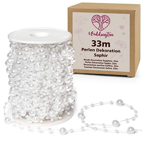 WeddingTree Guirnalda de perlas blancas 25m - Cinta de perlas para decoración de bodas y fiestas Cumpleaños Bautizos Navidad - 1 rollo