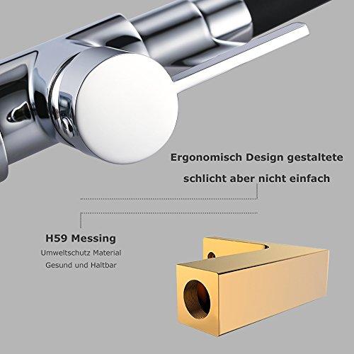 Homelody Schwarz Wasserhahn Küche Küchenarmatur Armatur Spüle Mischbatterie Einhebel Spültischarmatur Spiralfederarmatur - 7
