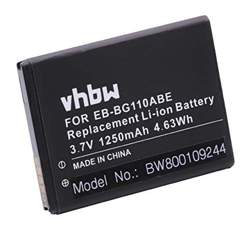vhbw Batería Recargable reemplaza Samsung EB-BG110ABE para móvil, Smartphone (1250 mAh, 3,7 V, Li-Ion)