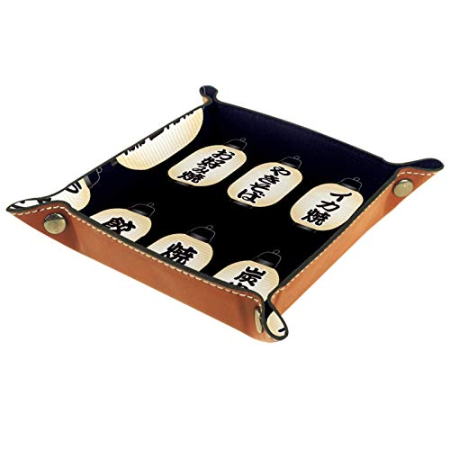 ZDL Faroles de papel japoneses con patrón de menús de comida, caja de almacenamiento organizador para llaves, teléfono, monedas, cartera, relojes, etc. 40 x 40 cm