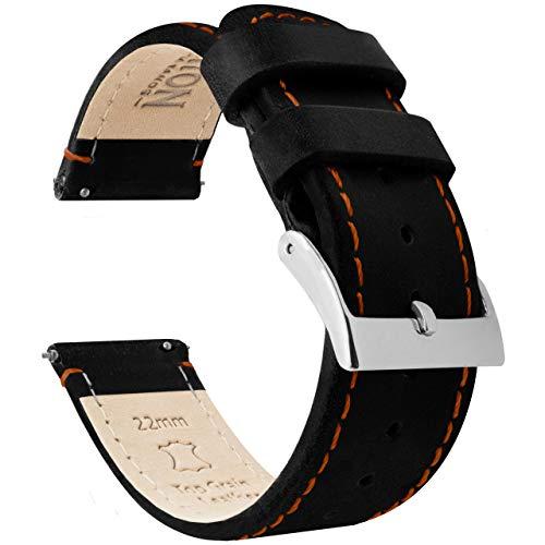 Barton Bracelet de montre en cuir grainé à libération rapide Différentes largeurs disponibles 22mm - Standard Black Leather / Orange Stitching