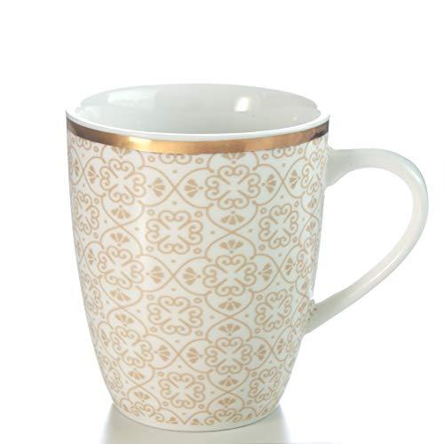 Zevryn Home Serene Porzellan Kaffeetasse, teetasse | Becher Weiß & Beige 340ml
