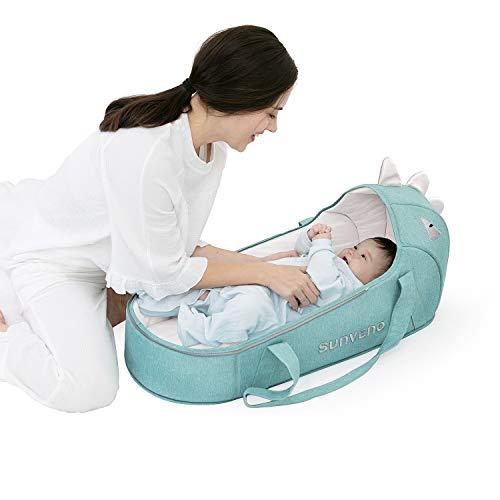 SUNVENO Tragetasche, Sleep Carrier, Schlafnest für Babys, Babykorb, Dinosaurierkorb, Moseskorb für 1-12 Monate, Kleinkindbetten, Babynest Neugeborene, Baby tragbares Bett, Baby Reisebett, Grün