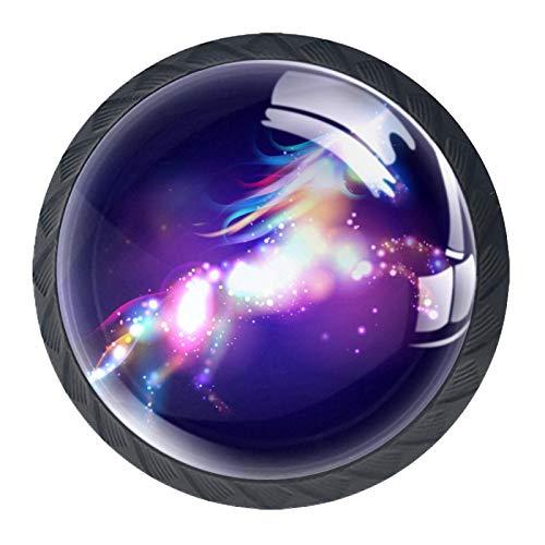 LXYDD Manijas para cajones Perillas para gabinetes Perillas Redondas Paquete de 4 para Armario, cajón, cómoda, cómoda, etc, Unicornio de luz Violeta