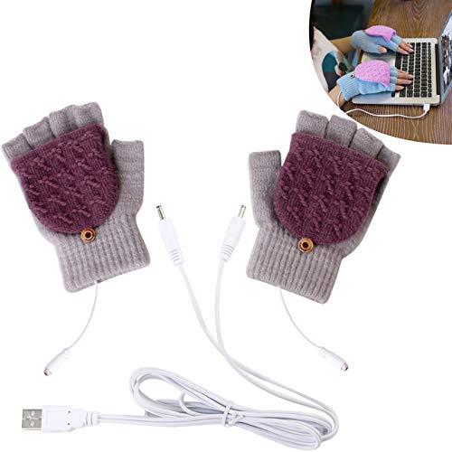 보온 가능한 장갑 1 쌍 5V USB 격렬한 장갑 스트라이프열 패턴 뜨개질을 하는 겨울이 가득 반 손가락 USB 따뜻한 난방 장갑 사용하기 쉬운 그레이