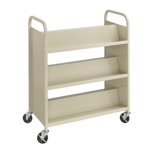 Safco Products Steel Double-Sided Book Cart, 3 Shelves On Each Side, Sand