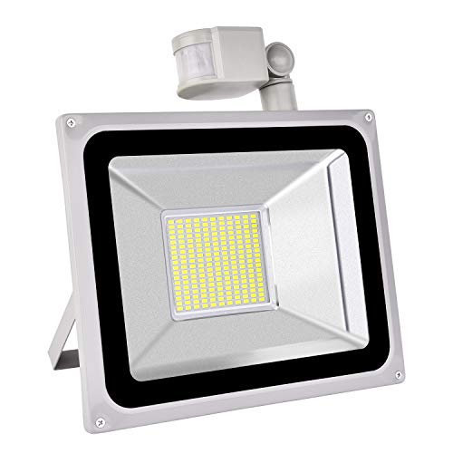 LED Flood Light Outdoor Motion Sensor 100W, IP65 Waterproof, 8000lumen, Daylight White 6000k, led Security Lights Outdoor, 120-Degree Beam Angle for Garage, Garden, Lawn, Yard and Playground