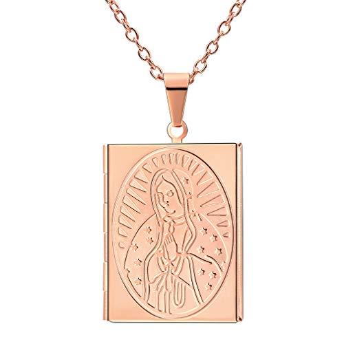 FaithHeart- Medallón Cuadrado Collar Colgante de Acero Inoxidable Católico Chapado en Oro Rosa Caja de Regalo Colgante de Nuestra Señora María