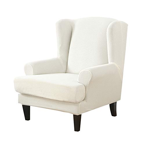 Y & J Stretch Wingback Chair Slipcover 2-Piece Wing Chair Covers for Living Room Slipcovers for Wingback Chair with Elastic Bottom Anti-Slip Spandex Fabric Armchair Slipcovers,White