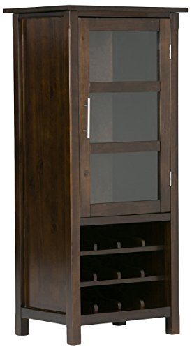SIMPLIHOME Avalon 12-Bottle SOLID WOOD 22 inch Wide Contemporary High Storage Wine Rack Cabinet in Dark Tobacco Brown