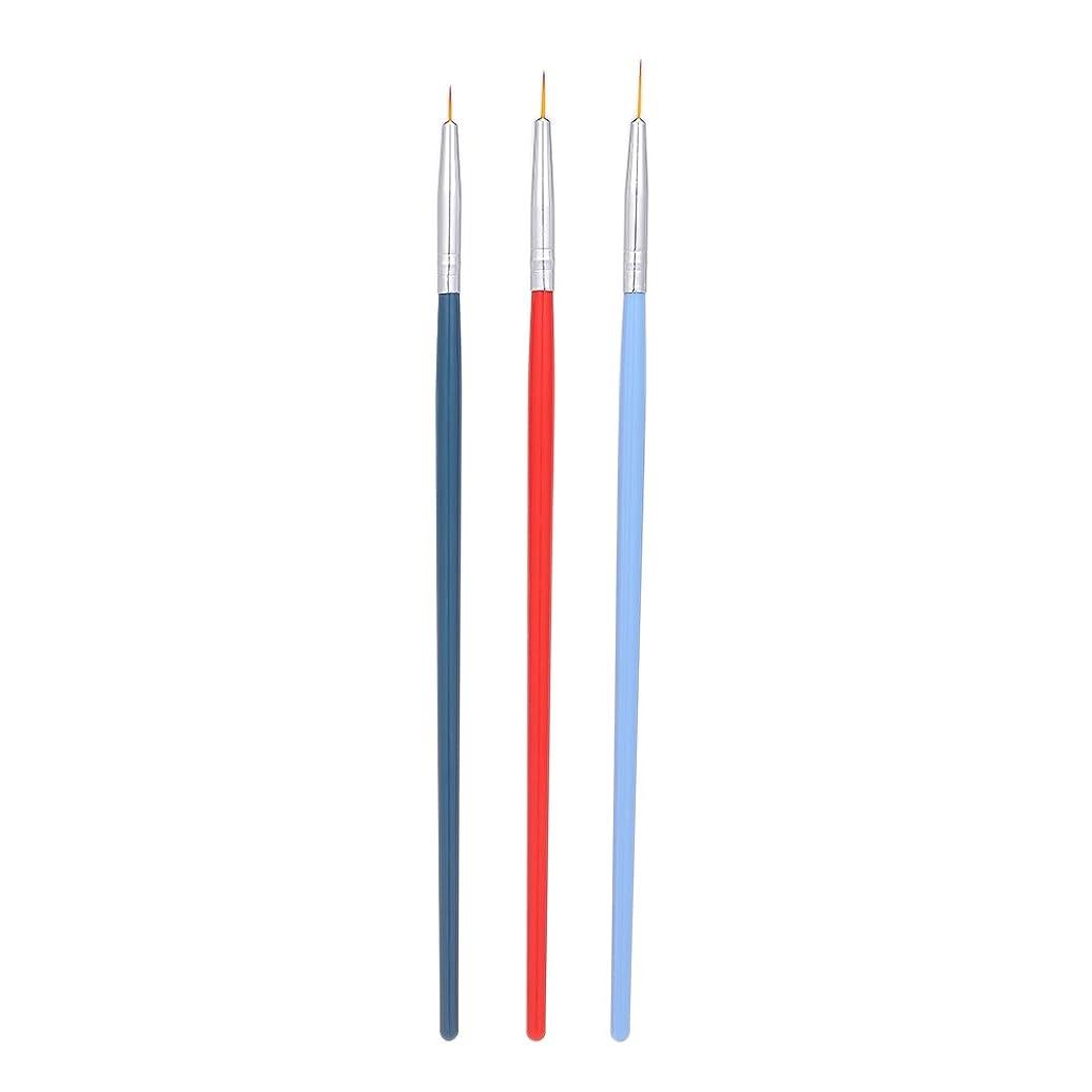 アプライアンス暗殺クリックDecdeal 3本 ネイルアートライナーブラシ ネイルブラシ ペン UVジェル塗装 セット マニキュア ネイルツール プラスチックハンドル