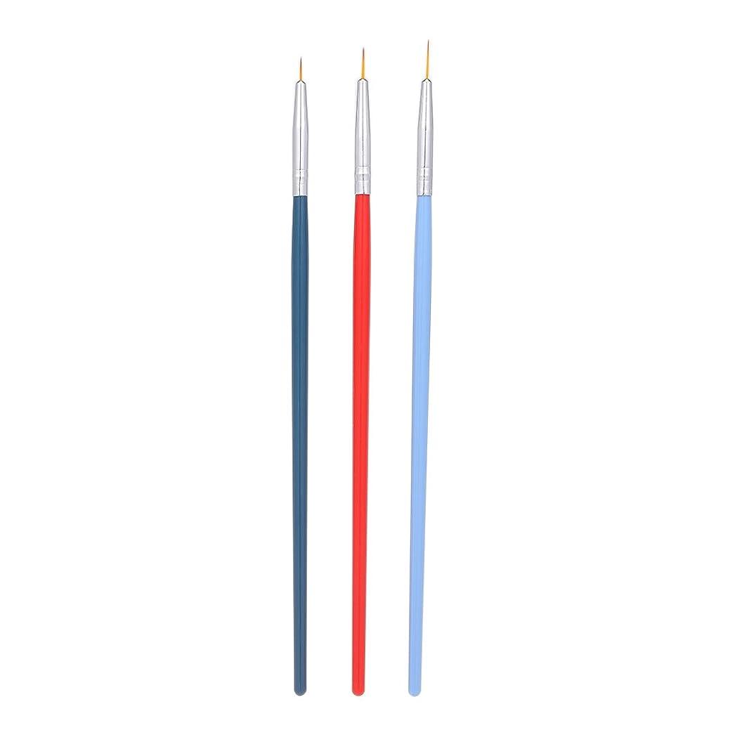 鹿スキャンダラス二層Decdeal 3本 ネイルアートライナーブラシ ネイルブラシ ペン UVジェル塗装 セット マニキュア ネイルツール プラスチックハンドル