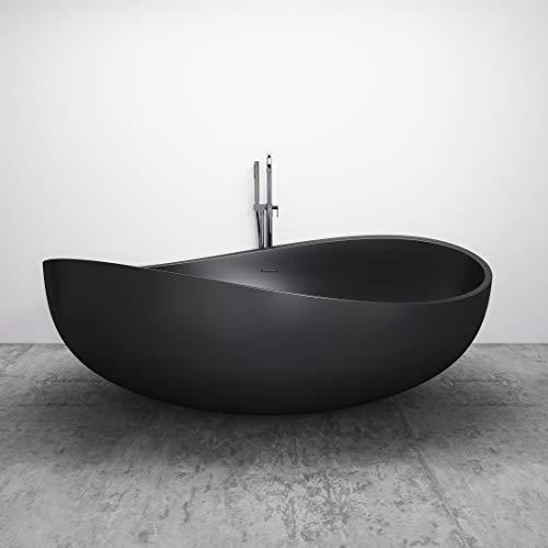 Freistehende Badewanne aus Mineralguss Wave Stone schwarz matt - 180 x 110 cm - Solid Stone