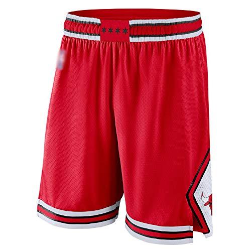 XXMM Hombres Pantalones Cortos De Baloncesto NBA Chicago Bulls Fitness Running Shorts Gym Casual Wear Transporte Shorts,Rojo,L