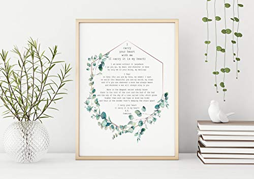 Todghrt EE Cummings Poem I Carry Your Heart I Carry it in my Heart Art Print Home Decor poesía Arte Mural Arte poesía