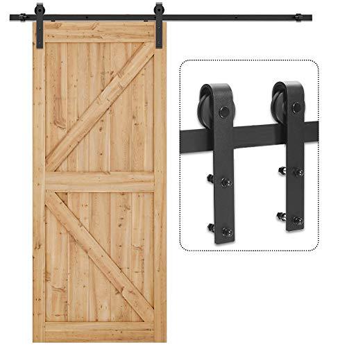 TSMST Upgrade 6.6FT Barn Door Hardware Kit with Noiseless Door Stopper, Easy to Install, Sliding Door Track Fit 40