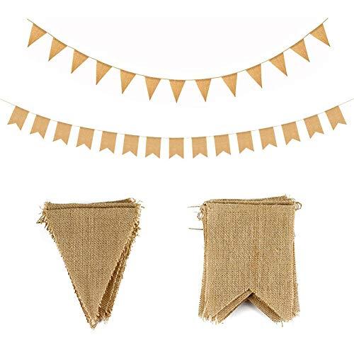JAHEMU Wimpelkette Leinen Vintage Wimpel Banner Hessische Girlande für Hochzeit Geburtstag Weihnachten Party Dekoration 28 Flaggen (Dreieck und Schwalbenschwanz Flagge)