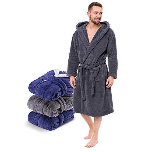 Twinzen - Peignoir Robe de Chambre Homme Polaire en Microfibre (100% Polyester) avec Capuche - Taille S - Gris Foncé - Certifié OEKO-TEX®