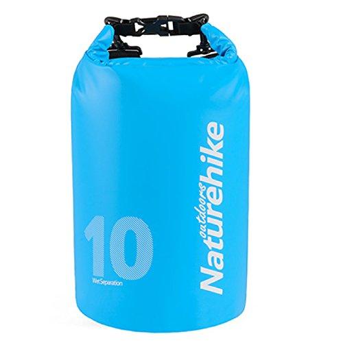 TRIWONDER Saco de Seco 10L/15L/25L Impermeable Ligero Bolsa Estanca para Natación Camping Senderismo Playa Pesca al Aire Libre (Azul - 10L)