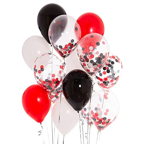 Black Red Pirate Mickey Minnie Confetti Party Balloons 12inch Lumberjack Baby Shower Retirement Wedding Bridal Shower Birthday Party Decorations Favors 40PCS